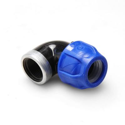 Угольник компрессионный ВР 32 x 1″ PN16 усиленная оцинк. кольцом Poelsan