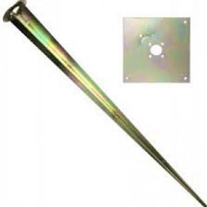 Металлический якорь для монтажа в грунт SPIKE ⟨С квадратным основанием 136х136мм ⟩