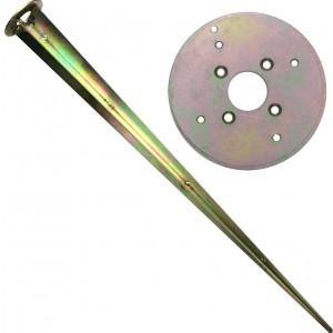 Металлический якорь для монтажа в грунт SPIKE  ⟨ С круглым основанием Д102мм.⟩